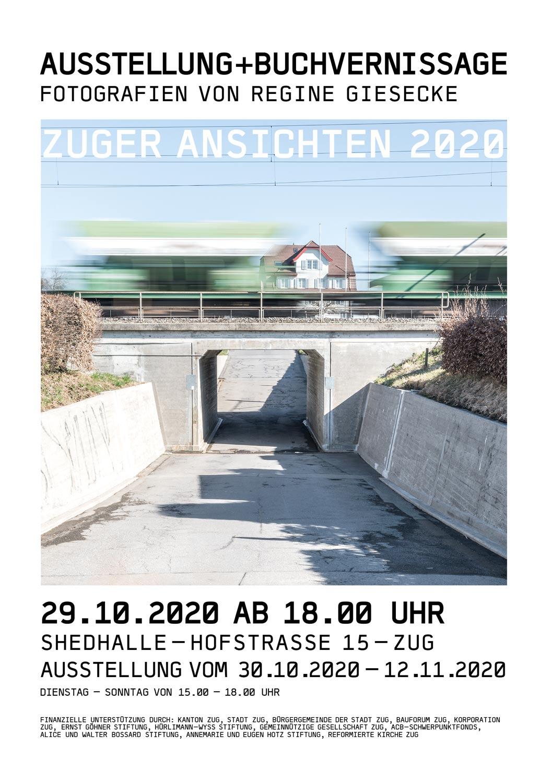 """Plakat zur Ausstellung und Buchvernissage """"Zuger Ansichten"""" von Regine Giesecke"""